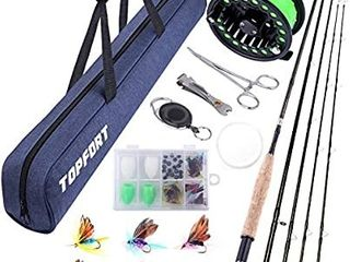 TOPFORT Fly Fishing Rod and Reel Combo  4 Piece lightweight Ultra Portable Graphite Fly Rod 5 6 Complete Starter Package with Carrier Bag