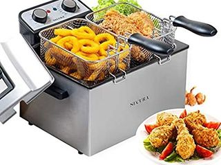 Secura Electric Deep Fryer 1800W Watt large 4 0l 4 2Qt Professional Grade Stainless Steel with Triple Basket and Timer