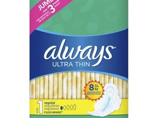 Always Ultra Thin Pads Unscented with Wings   Regular Absorbency   Size 1   46ct
