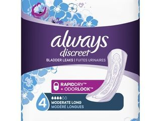 Always Discreet Incontinence and Postpartum Pads for Women   Moderate Absorbency   long length   54ct