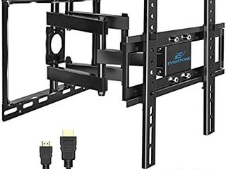 Everstone TV Wall Mount for 26 60  TVs Dual Articulating Arm Tilt Swivel Full Motion Bracket lED lCD OlED and Plasma Flat Screen TV Curved TV Up to VESA 400mm HDMI Cable