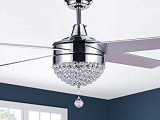 Modern Crystal Ceiling Fan With lED light  Remote Control  CCT Dimmable  Reversible Motor   Reversible Blades 19  blades