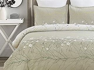 YEPINS Soft Microfiber Duvet Cover Set  Branch Plum Blossom Floral Printed Pattern Grey White Color Reversible Design with Zipper Closure  Queen 90x90 Inches 3 Pieces  1 Duvet Cover   2 Pillow Shams