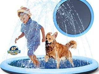 Splash Pad Sprinkler for Kids Toddlers  Baby Pool  Adults Outdoor Games Water Mat Toys   Infant Wading Swimming Pool   Fun Backyard Fountain Play Mat for Girls Boys or Pet Dog