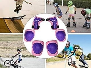 MiNiSports Kids Protective Gear 6 in 1 Set   Toddler Knee and Elbow Pads with Wrist Guards for Rollerblade Roller Skates Cycling BMX Bike Skateboard Inline Skatings Scooter Riding Sports