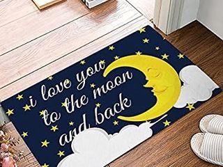 Funny Quotes Door Mat Starry Night I love You to The Moon and Back Decorative Felt Floor Mat with Non Skid Backing Fit for Home Indoor Kitchen 18 x 30 Inch