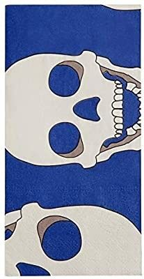 Skull Motif 3 Ply Paper Hand Towels   Decorative Bathroom Napkins Guest Towels For Kitchen  Parties  Weddings  Dinners or Events  Pack of 20   Blue   White Skull