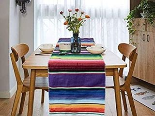 Tenpluszero Mexican Table Runner for Fiesta Party Mexican Theme Party Wedding Decorations Carnival Party Supplies Fringe Cotton Serape Table Runner