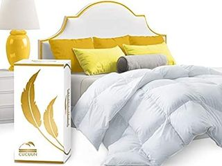 CUCUUN Real luxury Down Comforter Queen   100  Egyptian Cotton 1200 Thread Count 750 FP   White Goose Down Comforter   Corner Tabs