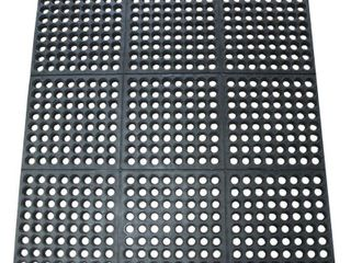 Rubber Cal 03 122 INT BK  Dura Chef Commercial Interlock  Anti Fatigue Rubber Matting  36  x 36  x 1 2  Black