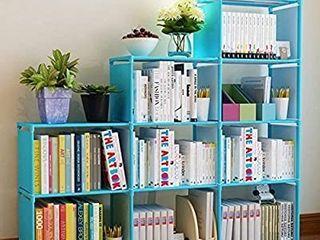 Hosmat 9 Cube DIY Children s Bookcase 30 inch Adjustable Bookshelf Organizer Shelves Unit  Folding Storage Shelves Unit  Blue 9 Cubes
