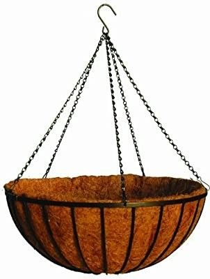 20  Georgian Rigid Iron Hanging Basket  C960  with Coco Moss liner