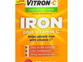 Vitron C High Potency Iron Supplement with Vitamin C  60 Count
