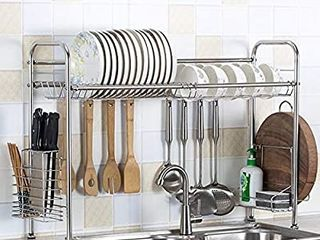 HOMESPON Over Sink Dish Rack 304 Stainless Steel Dish Drying Rack Sink Shelf Bowl Storage Rack