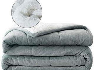 Syrinx Adult Weighted Blanket 15 Pounds  60 x80 Queen Size Dark Grey White  Soft Fleece Weighted Blanket