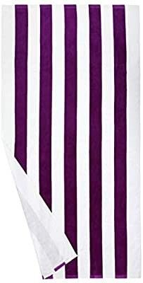 Set of 4 Striped Towels 2 Red and 2 Purple