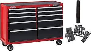 CRAFTSMAN 2000 Series 52 in W x 37 5 in H 10 Drawer Steel Rolling Tool Cabinet  Red  NO KEYS  NO WHEElS