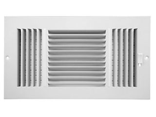Accord ABSWWH3126 Sidewall Ceiling Register with 3 way Design  12 Inch x 6 Inch Duct Opening Measurements  White 2 pc