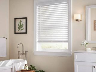 Home Decorators Collection White Cordless 2 in  Faux Wood Blind   31 in  W x 48 in  l  Actual Size 30 5 in  W x 48 in  l