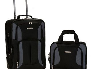 Rockland Fashion 2pc luggage Set   Black Gray