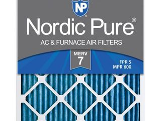 Nordic Pure 16x25x1M7 6 MERV 7 Pleated AC Furnace Air Filter  16x25x1  Box of 6
