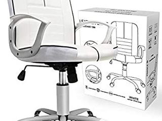 Office Chair Armless  Swivel Office Desk Chair Executive Bonded leather Computer Chair  White