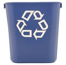 3  Rubbermaid Commercial Small Deskside Recycling Container  Rectangular  Plastic  13 63 qt  Blue  RCP295573BE