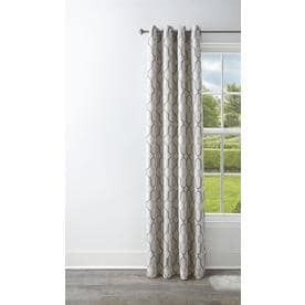 Style Selections Amhurst 84 in Mushroom Polyester Grommet Blackout Thermal lined Single Curtain Panel
