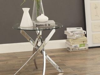 Furniture of America Dess Modern Chrome Metal X cross Round End Table  Retail 171 49  inspected