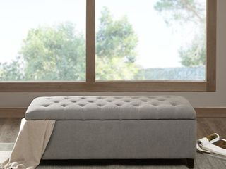 Copper Grove Campbell Sasha Grey Tufted Top Storage Bench   Retail 208 99   inspected