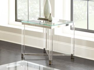Tamina Contemporary Glass Top End Table by Greyson living   Retail 167 99   inspected