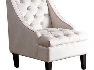 Abbyson laguna Ivory Velvet Tufted Accent Chair   Retail 335 99