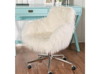 Amber Off white Faux fur Office Chair  Retail 167 49