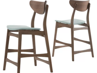 Christopher Knight Home Gavin Mid Century Wood Counter Stool in Dark Grey with Natural Oak Finish Set of 2