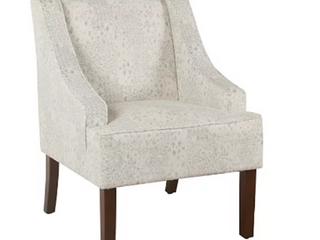 Porch   Den lyric Swoop Arm Cream  Gray Vintage Stencil Accent Chair   Retail 158 49