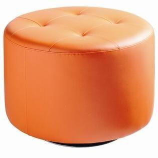 Sunpan Modern Domani Swivel Ottoman  large  Orange