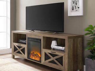 70  Rustic Farmhouse Fireplace TV Stand   Reclaimed Barnwood