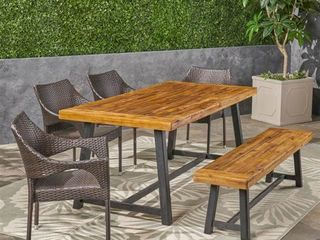 Brecken Outdoor Wood Dining Table by Christopher Knight Home  Retail 919 99