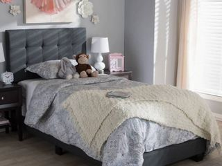 Grey linen Twin Upholstered Bed