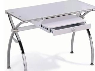 White Tempered Glass Desk with Chrome legs  Retail 306 99