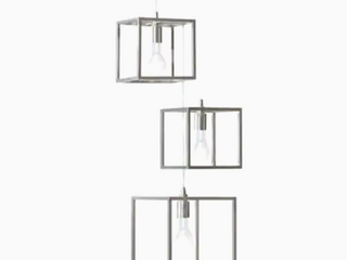 Style Selections Arctura light Brushed Nickel Industrial Cage Chandelier   Set of 2