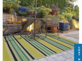 allen   roth Outdoor Collection 8 x 10 Teal Indoor Outdoor Stripe Coastal Area Rug