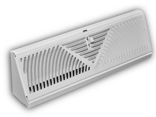 Everbilt 15 in  3 Way Steel Baseboard Diffuser Supply in White  Powder Coat White