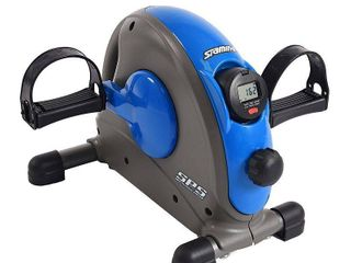 Stamina Compact Adjustable Mini Exercise Bike with Smooth Pedal System  Blue   powers on inspected