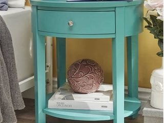 Chelsea lane Oval Wood Accent Table with Drawer  Marine Green