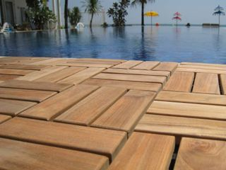 Bare Decor EZ Floor Interlocking Flooring Tiles in Solid Teak Wood  Set of 10