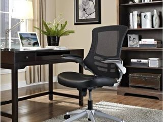Porch   Den Williamsburg Modway Attainment Black Mesh Back and leatherette Seat Office Chair   Retail 156 99