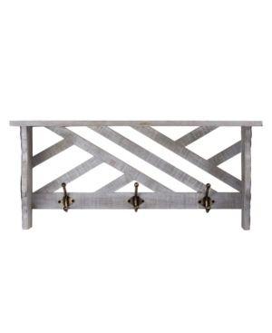 American Art Decor Wood Coat Rack Wall Mounted Organizer 3 Hooks   inspected