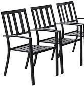 phi villa Outdoor Bistro Deck Patio Metal Chairs Stackable  Black Finish  set Of 2