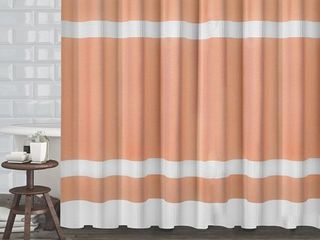 Hotel Quality Fabric Shower Curtain with White Diamond Weave Textured Stripes  70 x72  coral